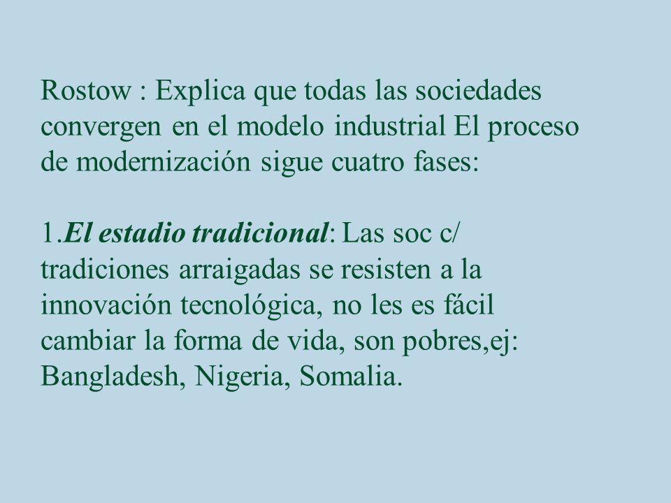 Rostow : Explica que todas las sociedades convergen en el modelo industrial El proceso de modernización sigue cuatro fases: 1.El estadio tradicional: Las soc c/ tradiciones arraigadas se resisten a la innovación tecnológica, no les es fácil cambiar la forma de vida, son pobres,ej: Bangladesh, Nigeria, Somalia.