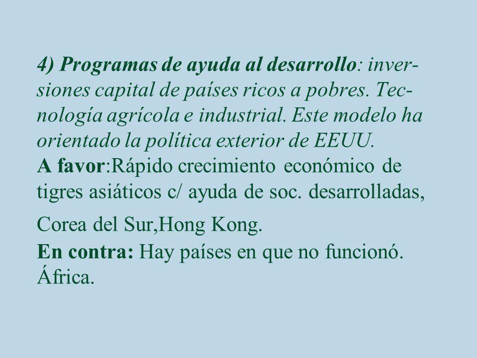 4) Programas de ayuda al desarrollo: inver-siones capital de países ricos a pobres.