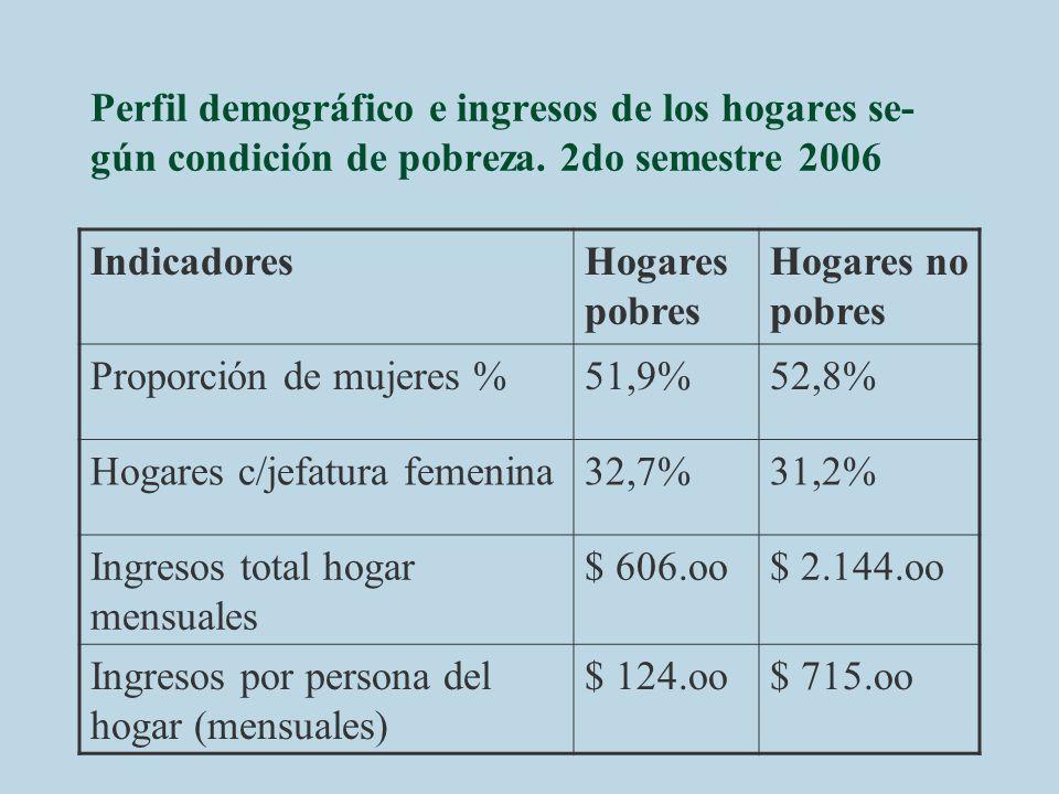 Perfil demográfico e ingresos de los hogares se-gún condición de pobreza. 2do semestre 2006