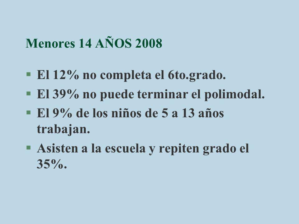 Menores 14 AÑOS 2008 El 12% no completa el 6to.grado. El 39% no puede terminar el polimodal. El 9% de los niños de 5 a 13 años trabajan.