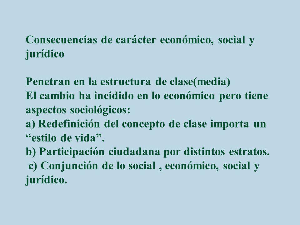 Consecuencias de carácter económico, social y jurídico Penetran en la estructura de clase(media) El cambio ha incidido en lo económico pero tiene aspectos sociológicos: a) Redefinición del concepto de clase importa un estilo de vida .