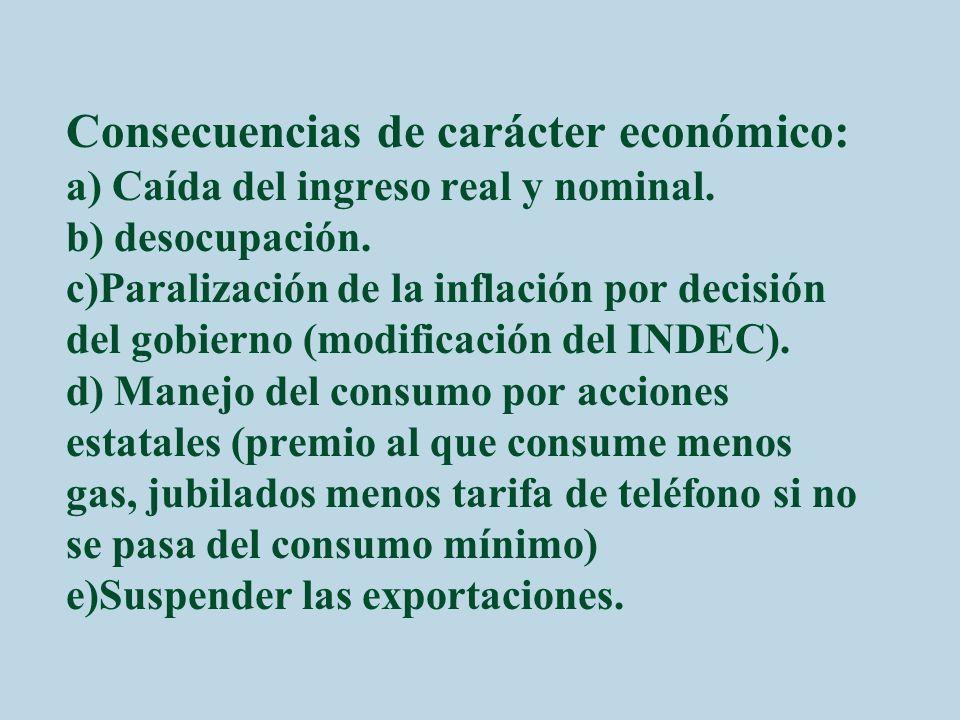 Consecuencias de carácter económico: a) Caída del ingreso real y nominal.