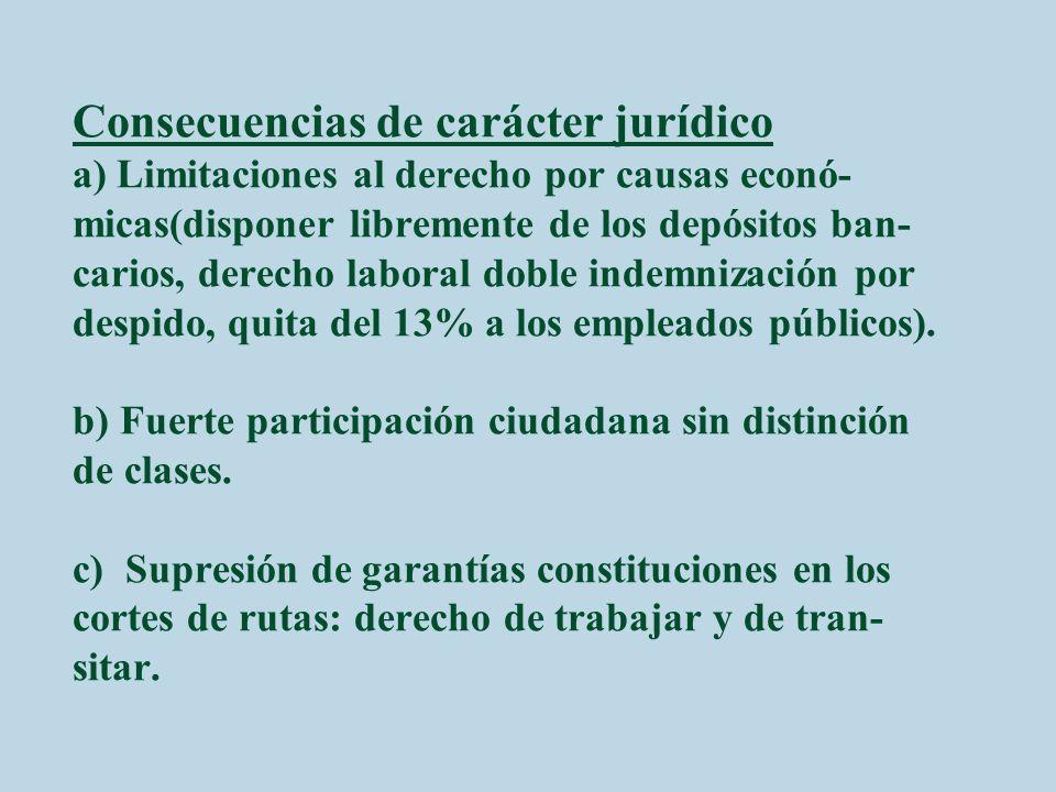 Consecuencias de carácter jurídico a) Limitaciones al derecho por causas econó-micas(disponer libremente de los depósitos ban-carios, derecho laboral doble indemnización por despido, quita del 13% a los empleados públicos).