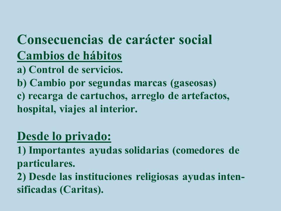 Consecuencias de carácter social Cambios de hábitos a) Control de servicios.