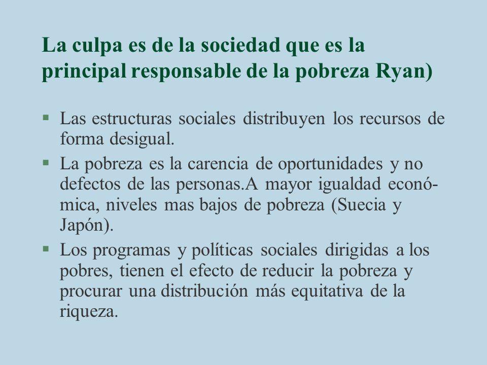 La culpa es de la sociedad que es la principal responsable de la pobreza Ryan)