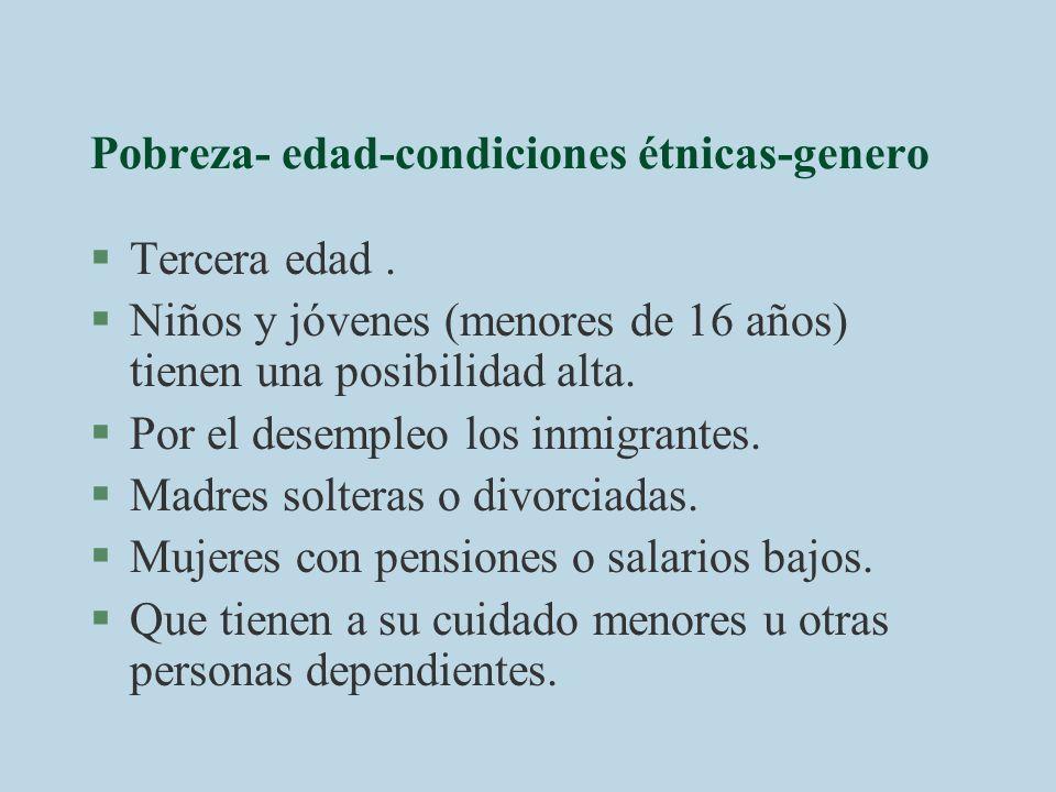 Pobreza- edad-condiciones étnicas-genero