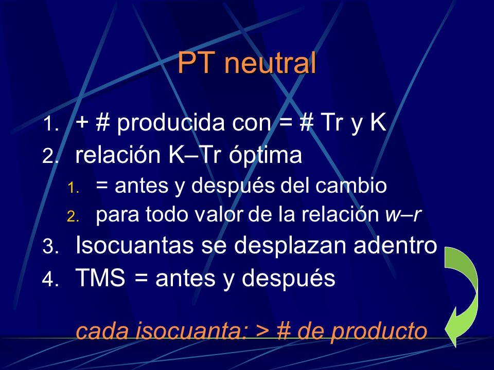 PT neutral + # producida con = # Tr y K relación K–Tr óptima