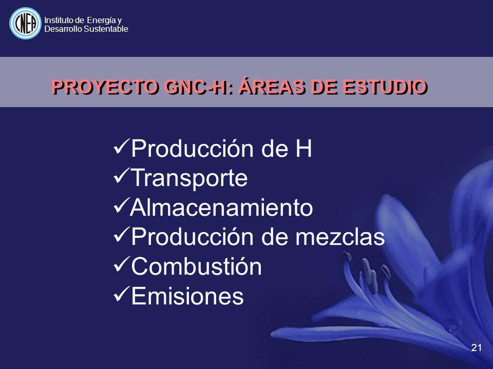 PROYECTO GNC-H: ÁREAS DE ESTUDIO
