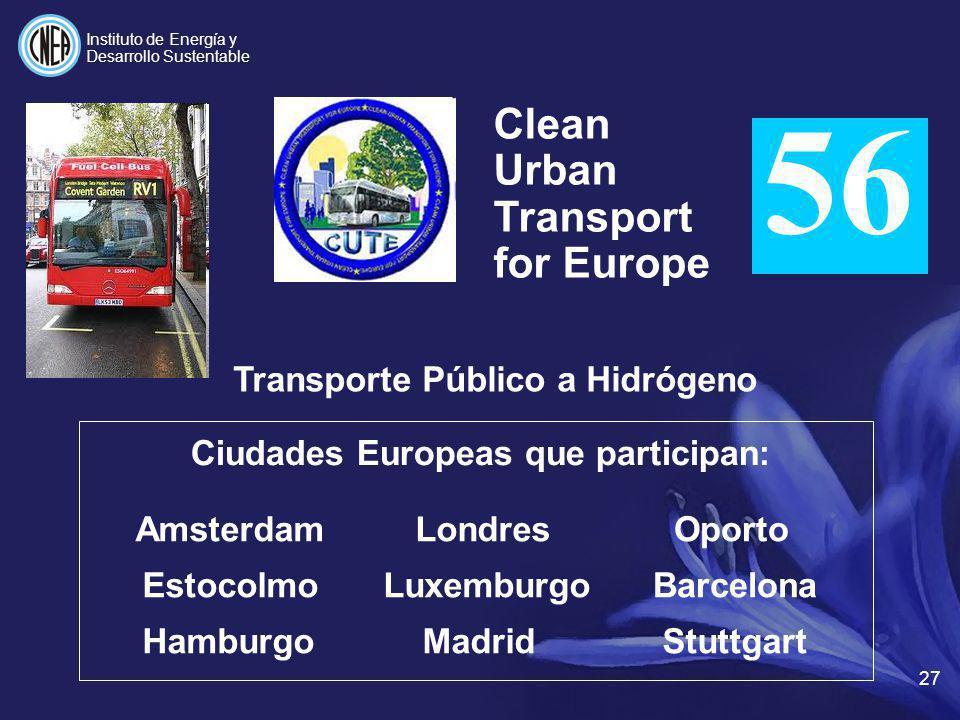 Transporte Público a Hidrógeno Ciudades Europeas que participan: