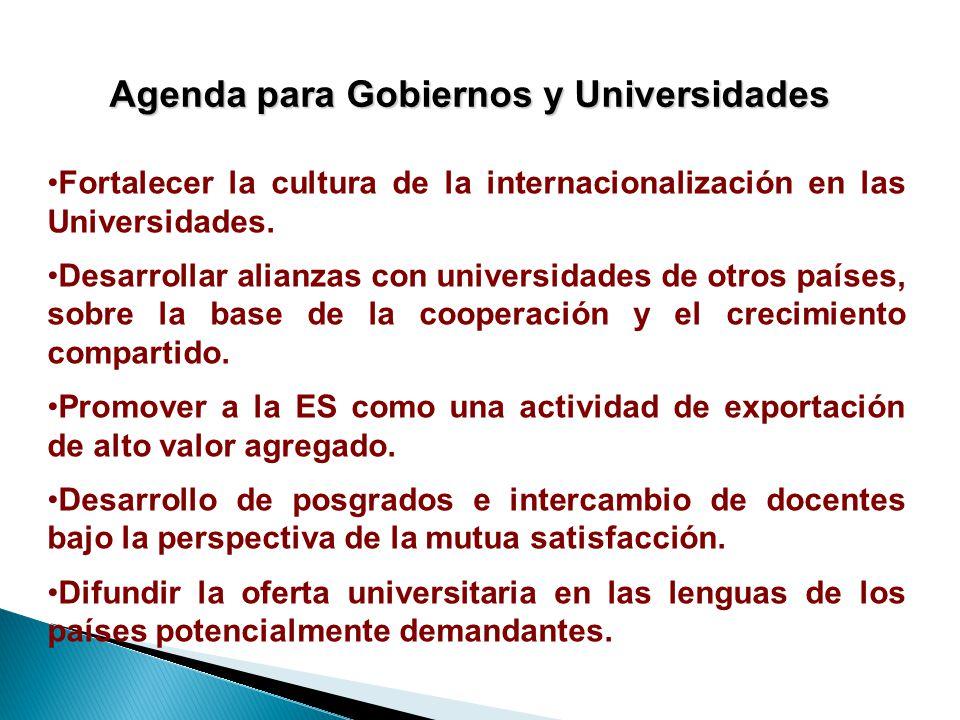 Agenda para Gobiernos y Universidades