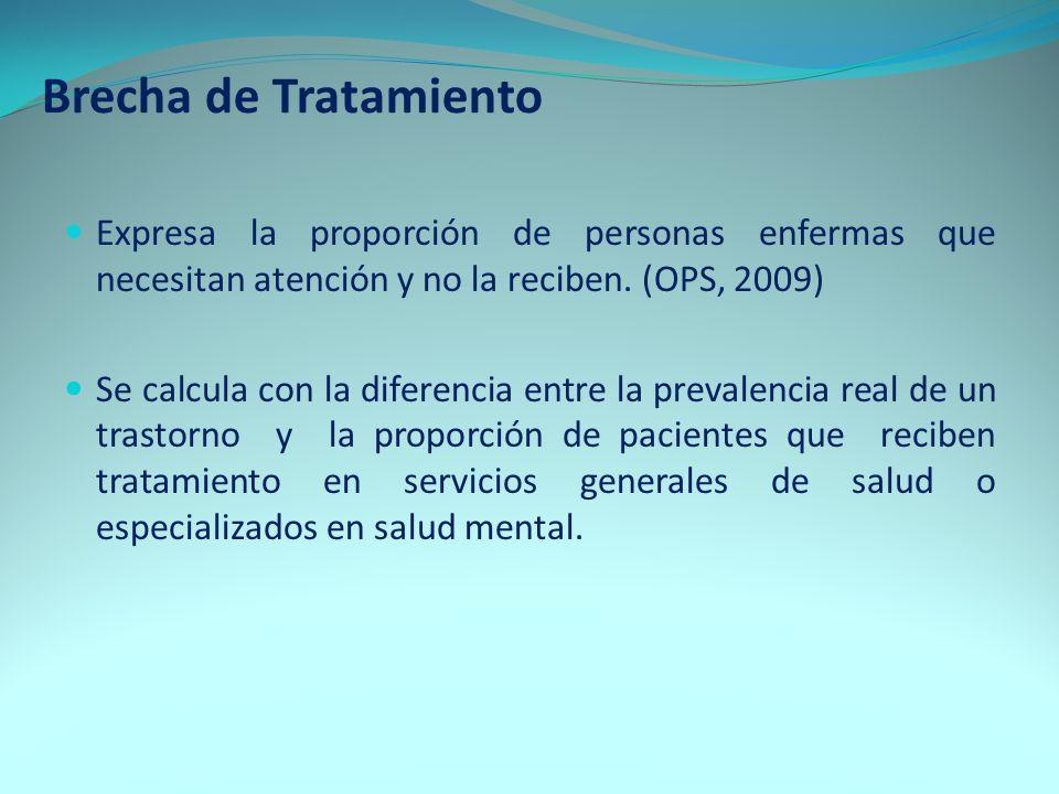 Brecha de Tratamiento Expresa la proporción de personas enfermas que necesitan atención y no la reciben. (OPS, 2009)