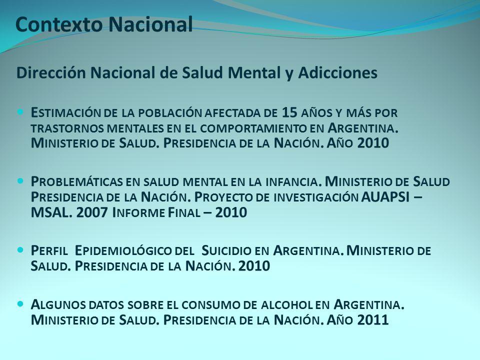 Contexto Nacional Dirección Nacional de Salud Mental y Adicciones