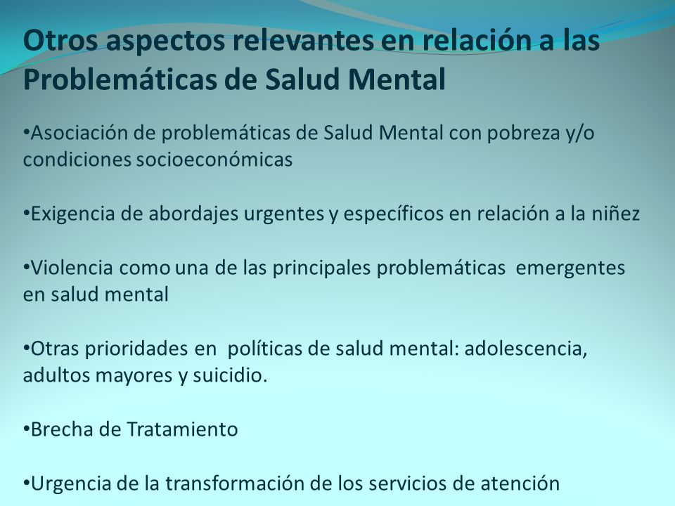 Otros aspectos relevantes en relación a las Problemáticas de Salud Mental