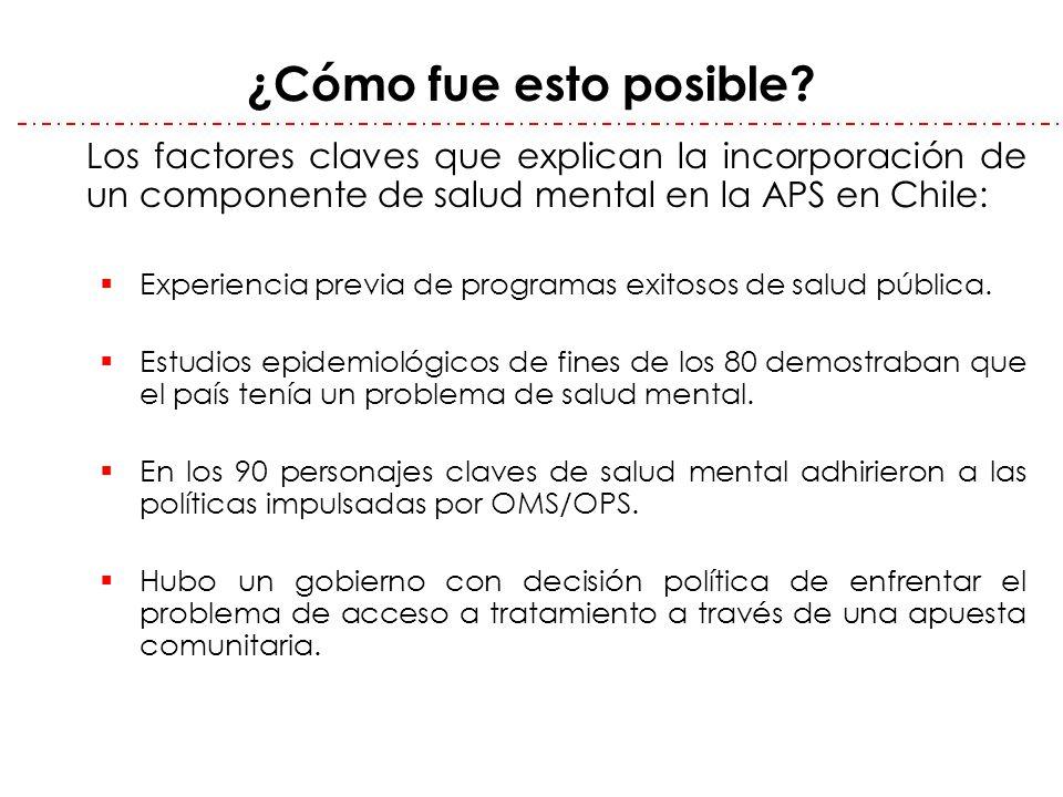 ¿Cómo fue esto posible Los factores claves que explican la incorporación de un componente de salud mental en la APS en Chile: