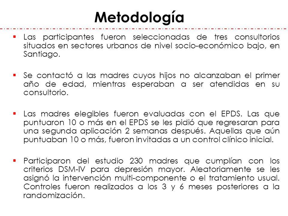 Metodología Las participantes fueron seleccionadas de tres consultorios situados en sectores urbanos de nivel socio-económico bajo, en Santiago.