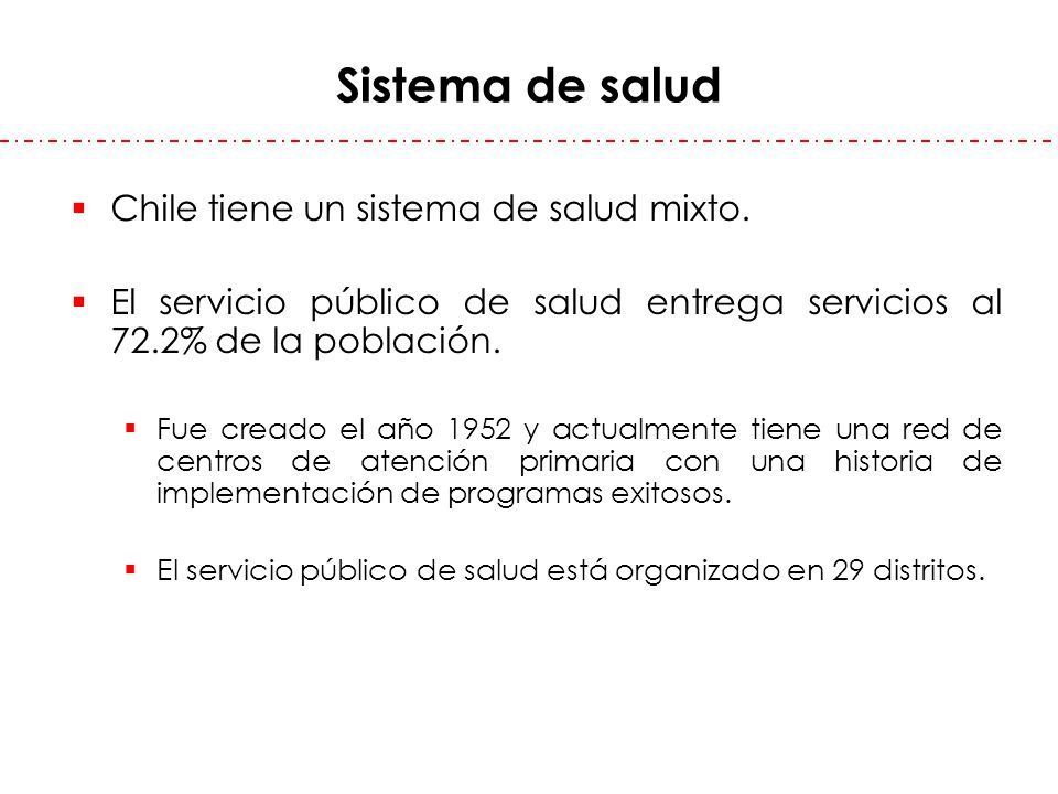 Sistema de salud Chile tiene un sistema de salud mixto.