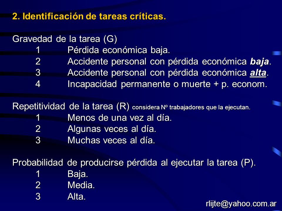 2. Identificación de tareas críticas. Gravedad de la tarea (G)