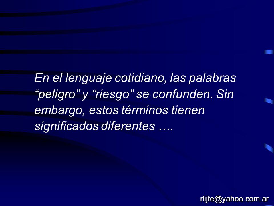 En el lenguaje cotidiano, las palabras peligro y riesgo se confunden. Sin embargo, estos términos tienen significados diferentes ….
