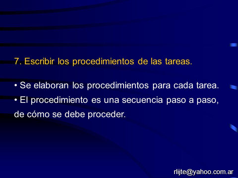 7. Escribir los procedimientos de las tareas.