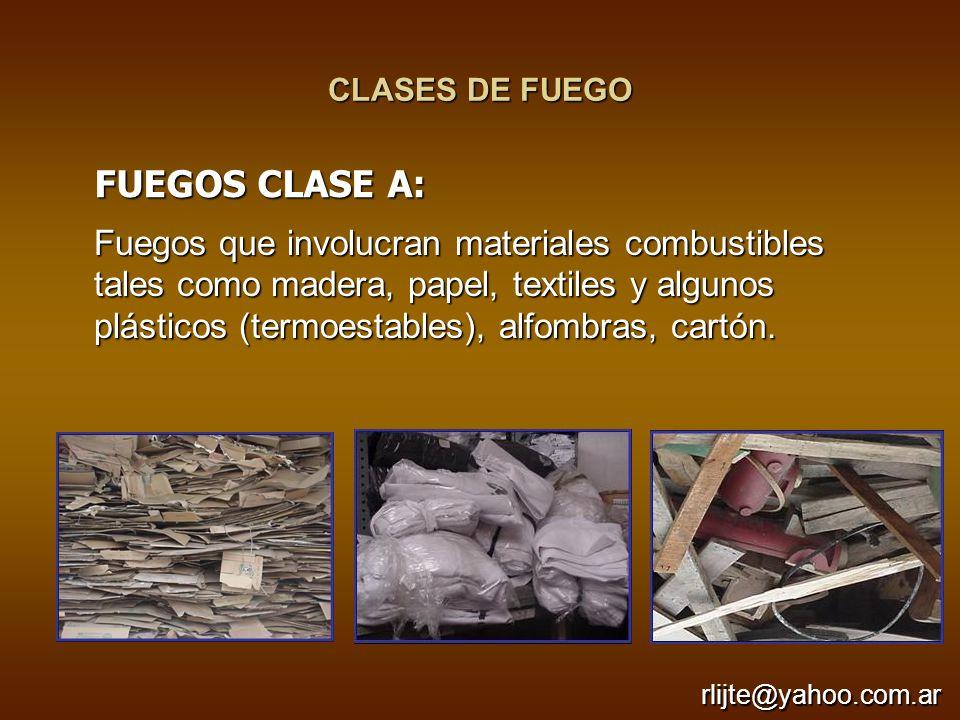 CLASES DE FUEGO FUEGOS CLASE A:
