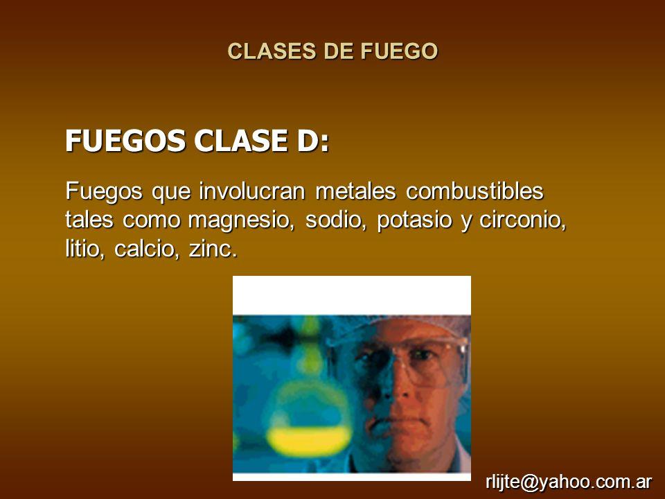 CLASES DE FUEGO FUEGOS CLASE D: Fuegos que involucran metales combustibles tales como magnesio, sodio, potasio y circonio, litio, calcio, zinc.