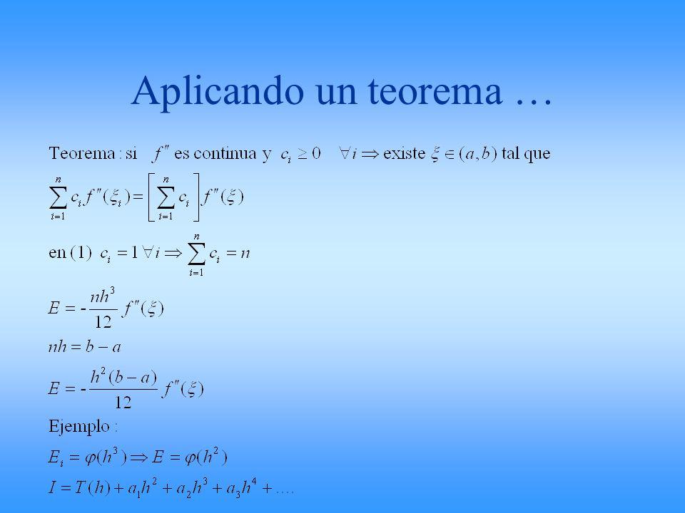 Aplicando un teorema …