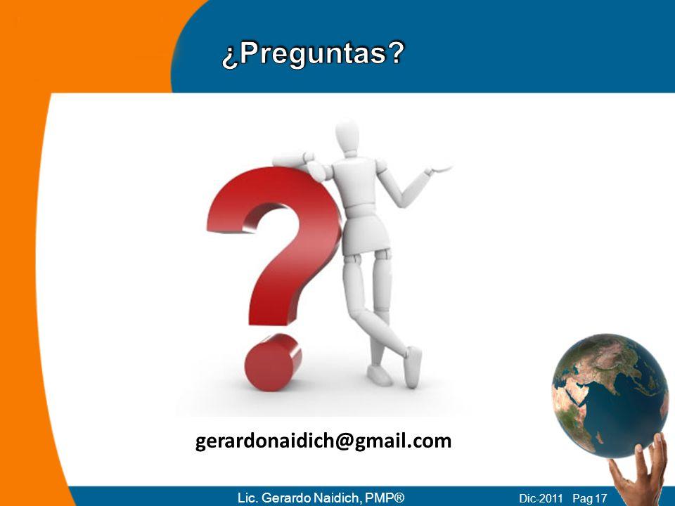 ¿Preguntas gerardonaidich@gmail.com