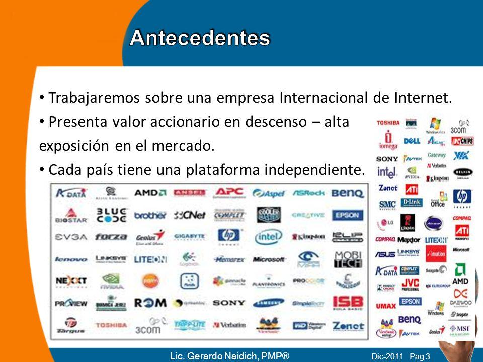 Antecedentes Trabajaremos sobre una empresa Internacional de Internet.