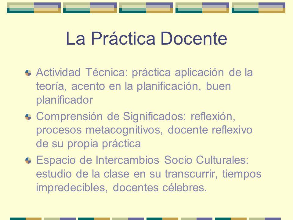 La Práctica Docente Actividad Técnica: práctica aplicación de la teoría, acento en la planificación, buen planificador.