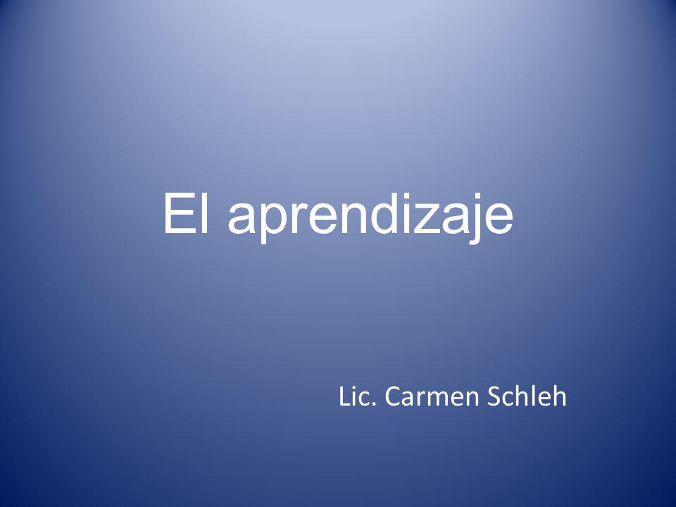 El aprendizaje Lic. Carmen Schleh