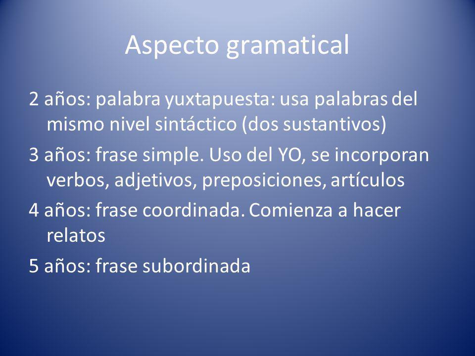 Aspecto gramatical 2 años: palabra yuxtapuesta: usa palabras del mismo nivel sintáctico (dos sustantivos)