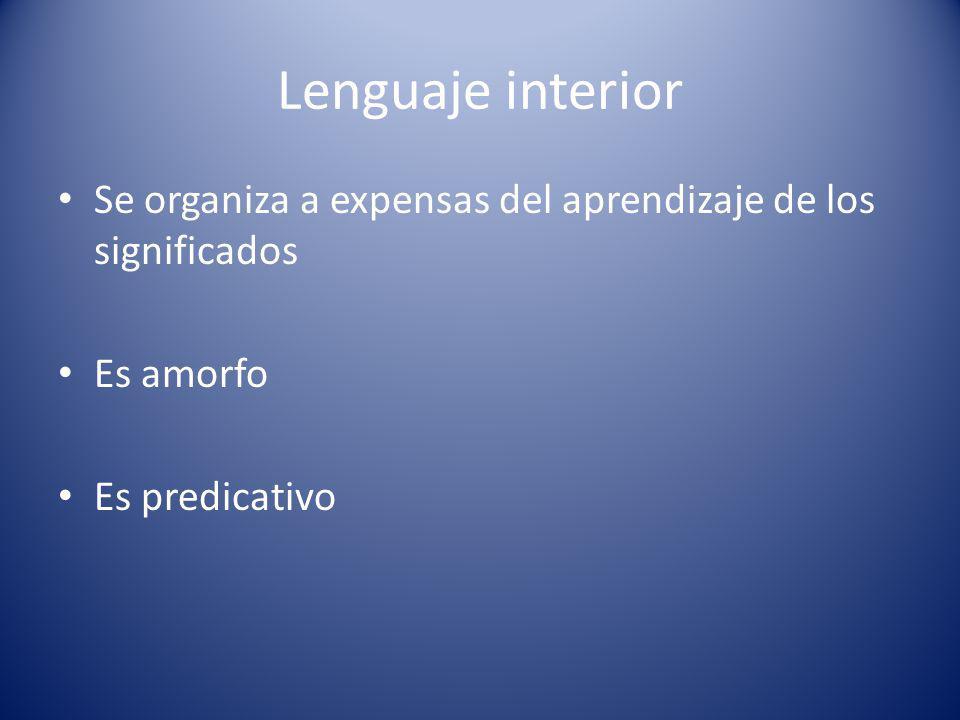 Lenguaje interior Se organiza a expensas del aprendizaje de los significados.