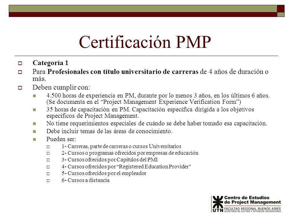 Certificación PMP Categoría 1