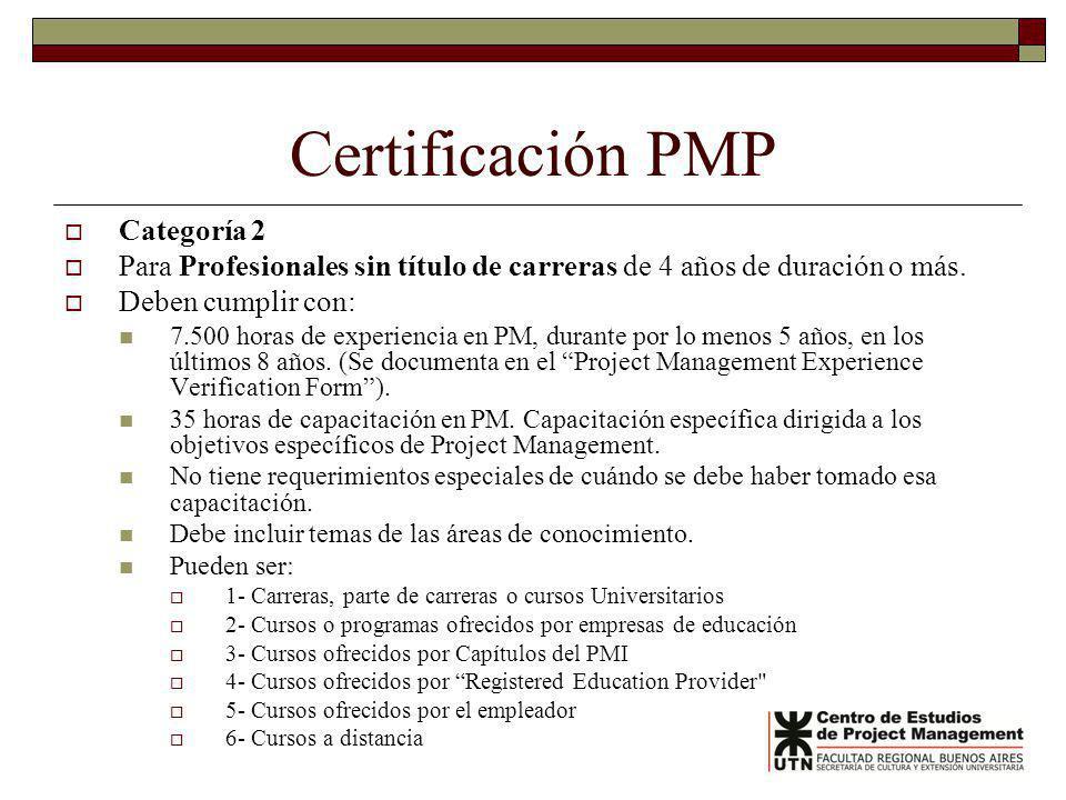 Certificación PMP Categoría 2