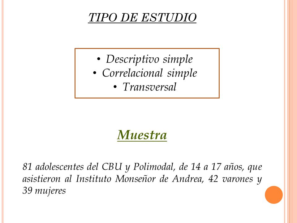 Muestra TIPO DE ESTUDIO Descriptivo simple Correlacional simple