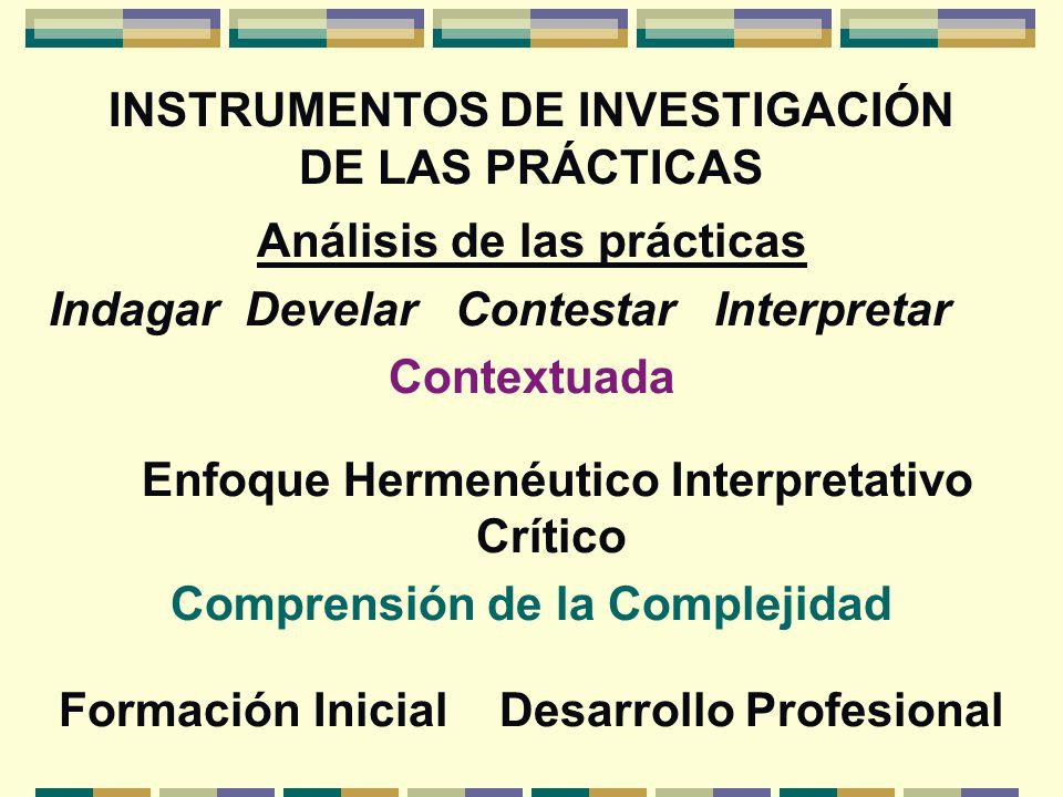 INSTRUMENTOS DE INVESTIGACIÓN DE LAS PRÁCTICAS