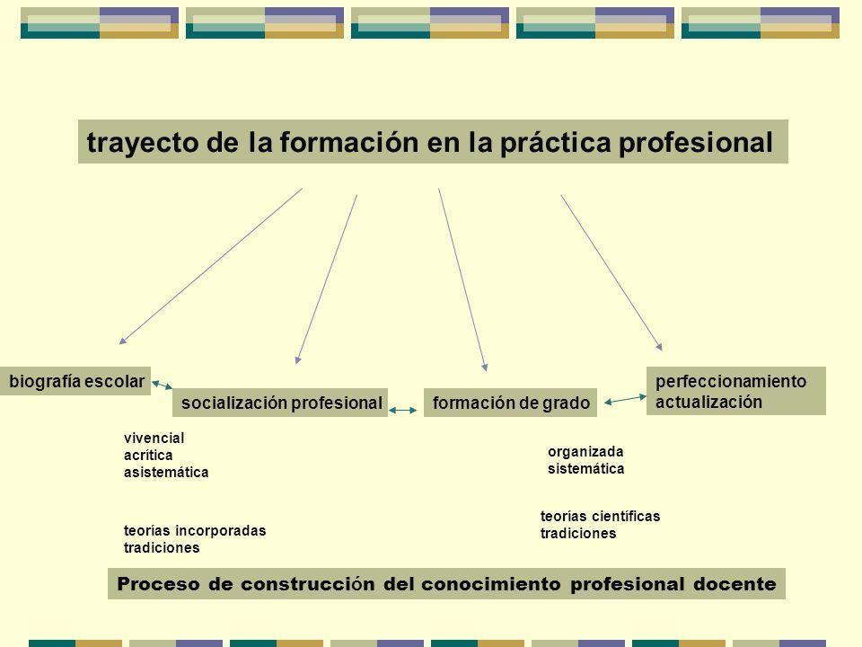 trayecto de la formación en la práctica profesional