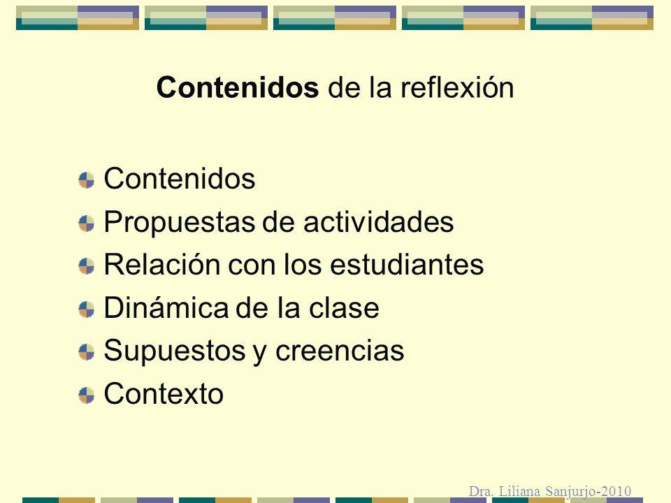 Contenidos de la reflexión