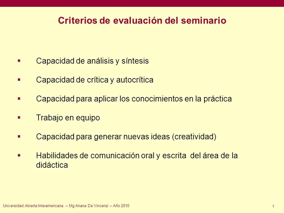 Criterios de evaluación del seminario