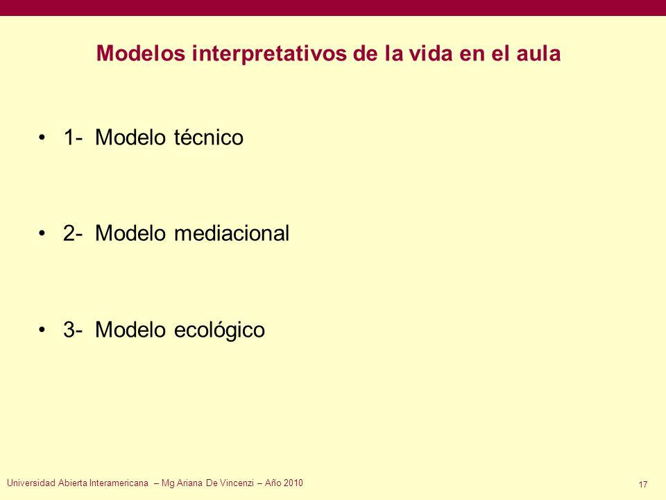 Modelos interpretativos de la vida en el aula