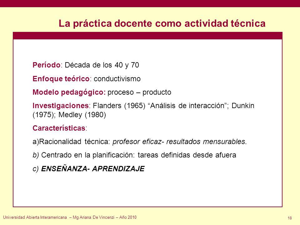 La práctica docente como actividad técnica