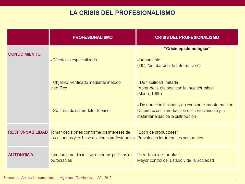 LA CRISIS DEL PROFESIONALISMO