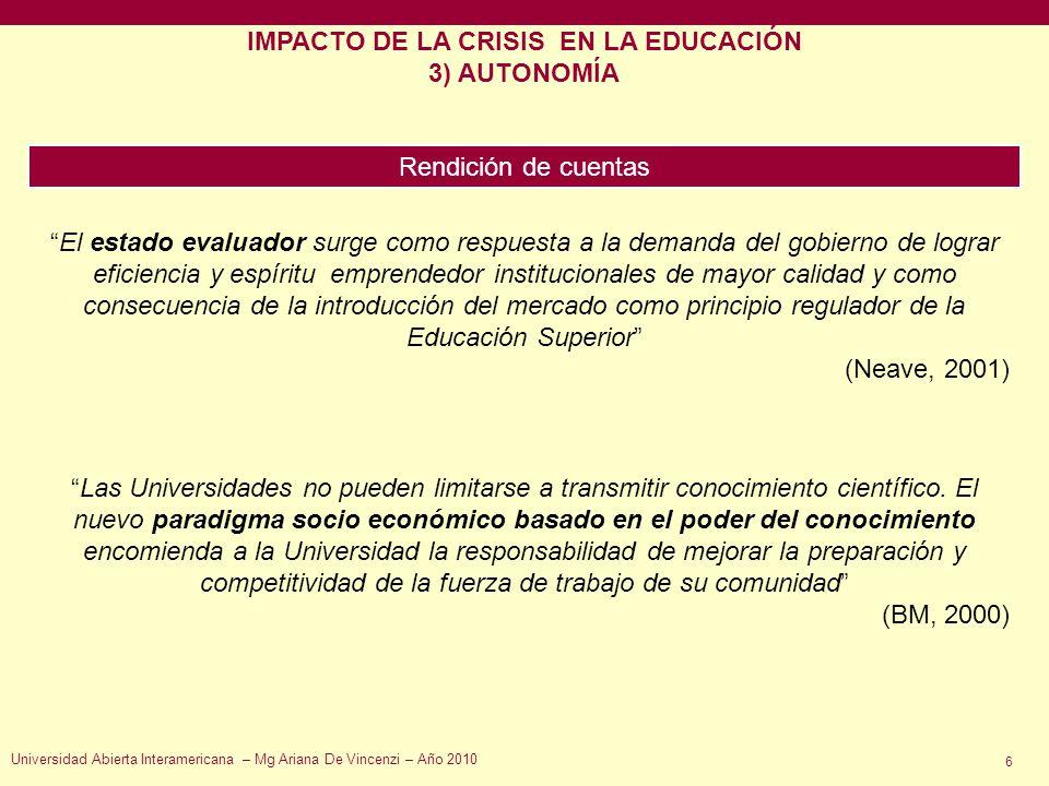 IMPACTO DE LA CRISIS EN LA EDUCACIÓN