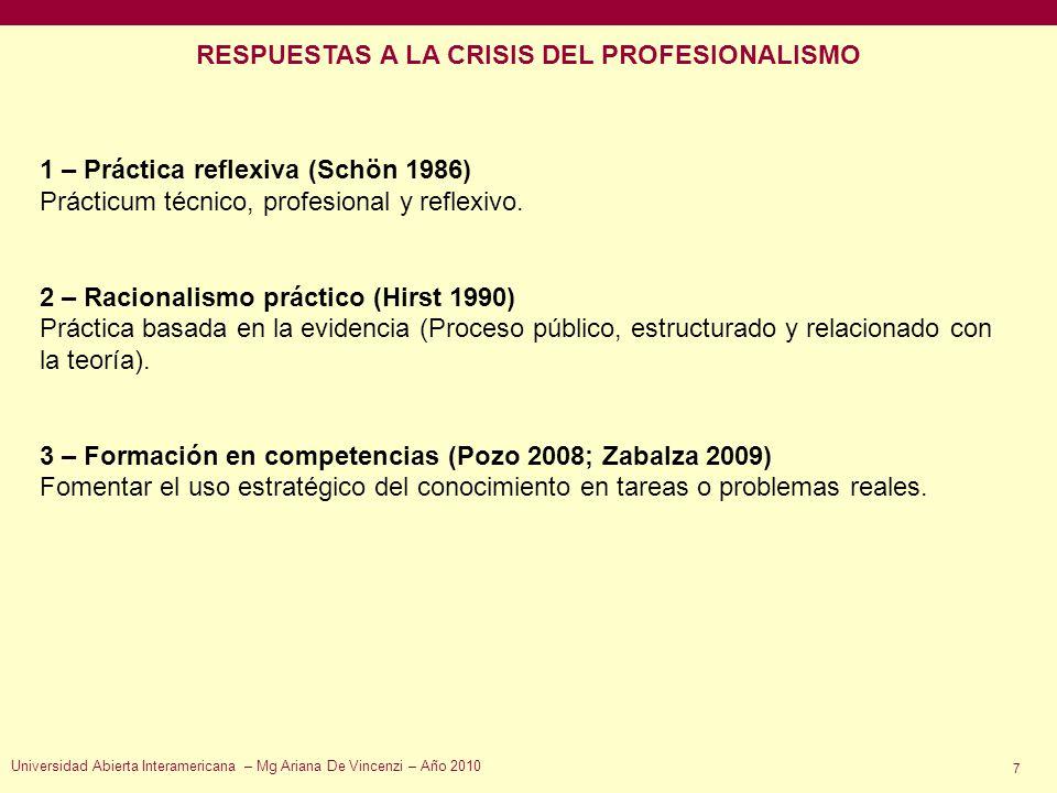 RESPUESTAS A LA CRISIS DEL PROFESIONALISMO
