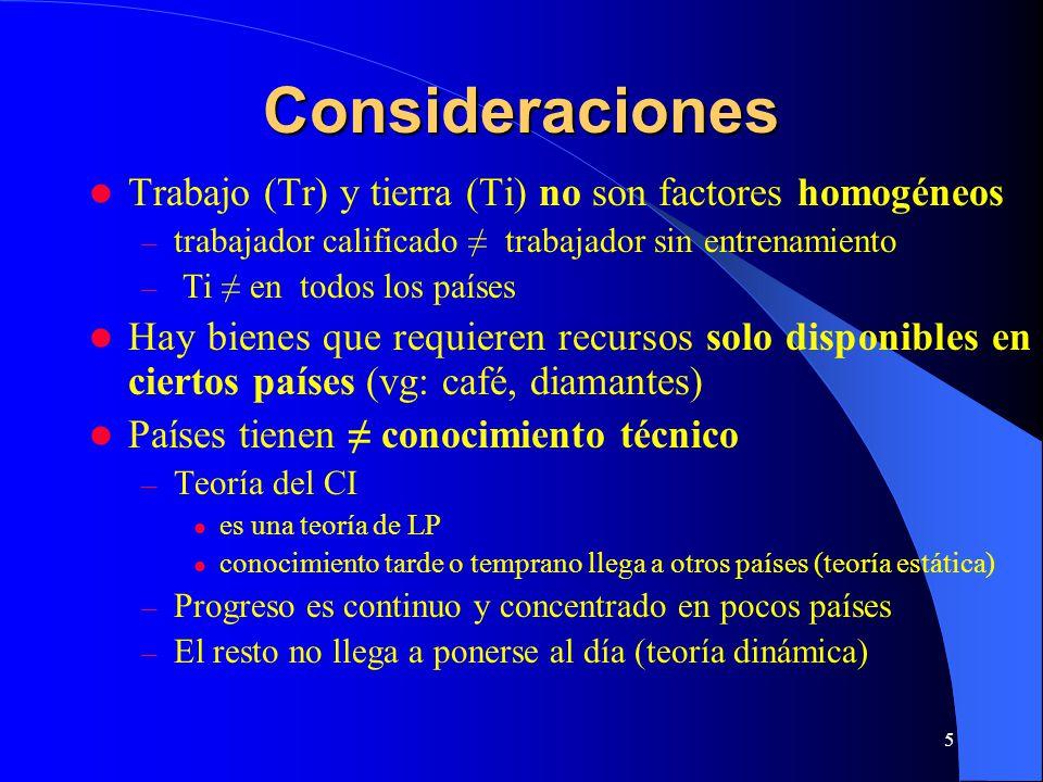 Consideraciones Trabajo (Tr) y tierra (Ti) no son factores homogéneos