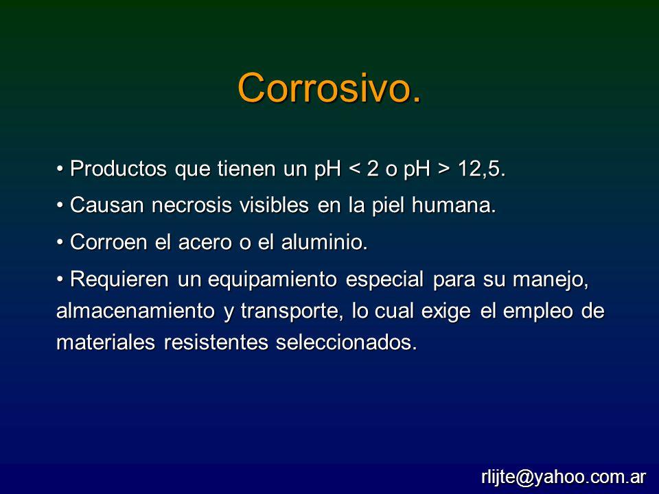 Corrosivo. Productos que tienen un pH < 2 o pH > 12,5.