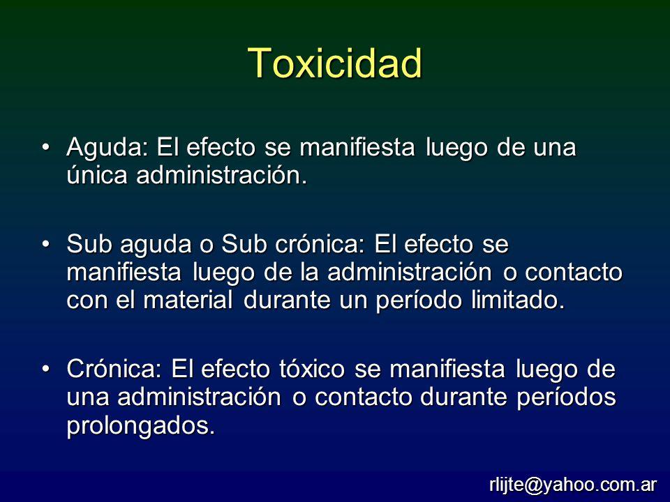 Toxicidad Aguda: El efecto se manifiesta luego de una única administración.