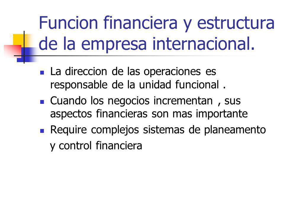 Funcion financiera y estructura de la empresa internacional.