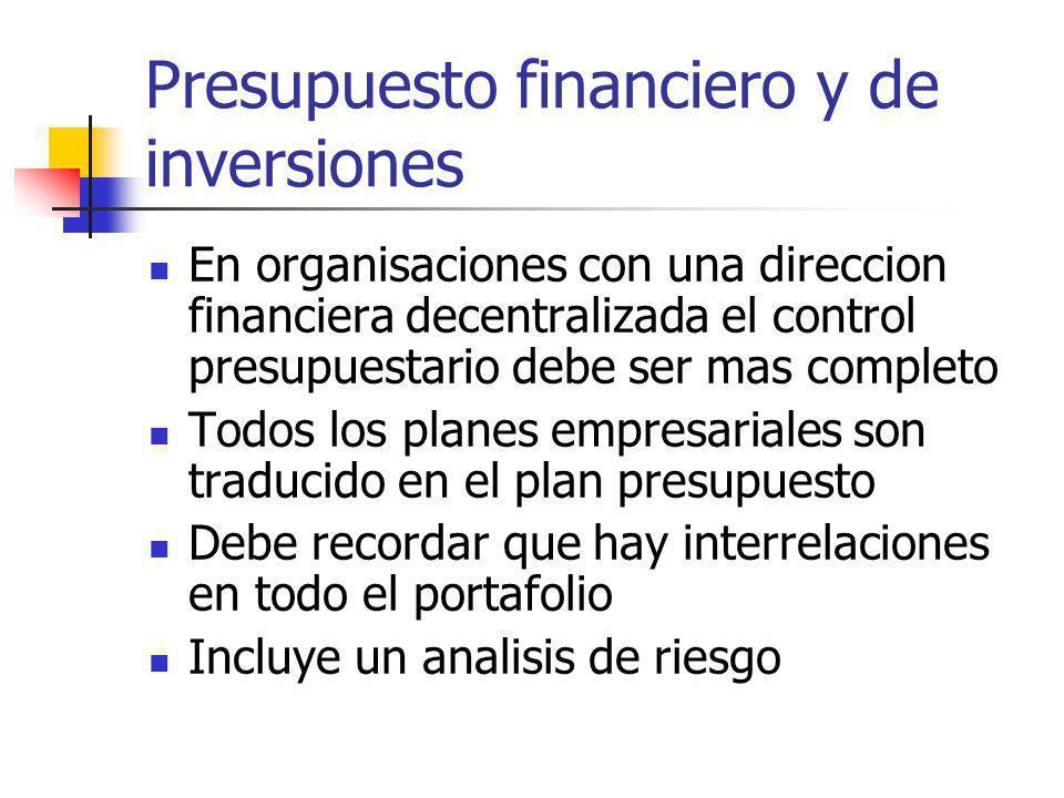 Presupuesto financiero y de inversiones