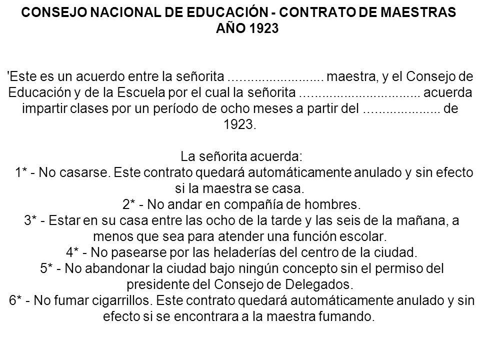 CONSEJO NACIONAL DE EDUCACIÓN - CONTRATO DE MAESTRAS AÑO 1923 Este es un acuerdo entre la señorita ..........................